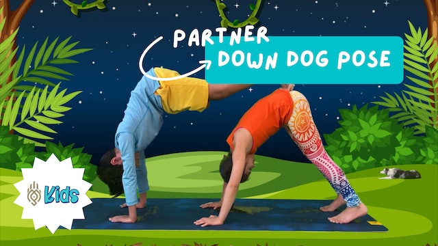 How To Practice Partner Down Dog Pose | An OM Warrior Kids Yoga Pose Tutorial