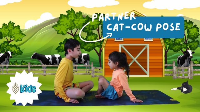 How To Practice Partner Cat-Cow Pose | An OM Warrior Kids Yoga Pose Tutorial