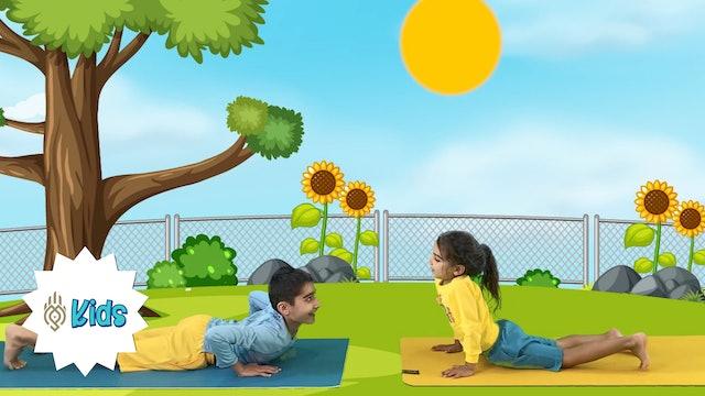 Sun Salutations Variation 1 | An OM Warrior Kids Preschool Yoga Video