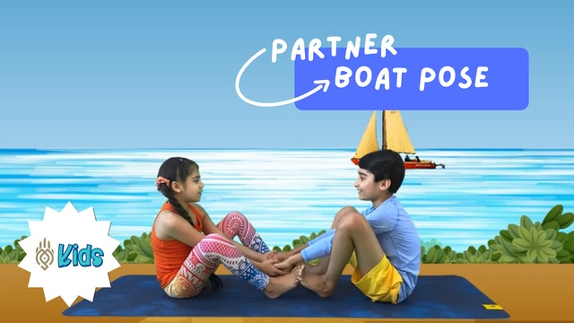 How To Practice Partner Boat Pose | An OM Warrior Kids Yoga Pose Tutorial