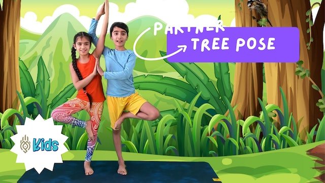 How To Practice Partner Double Tree Pose | An OM Warrior Kids Yoga Pose Tutorial