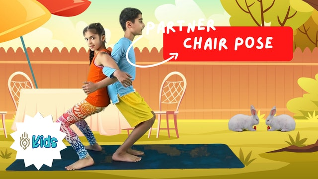 How To Practice Partner Chair Pose | An OM Warrior Kids Yoga Pose Tutorial