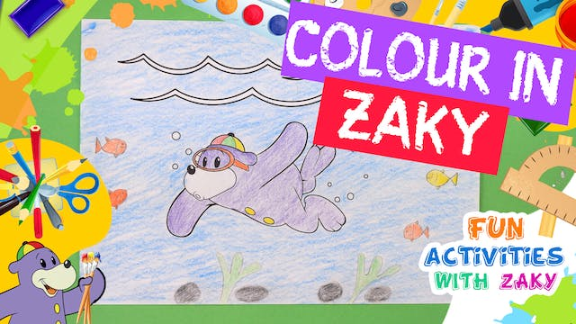 Let's Colour in Zaky Swimming Underwater