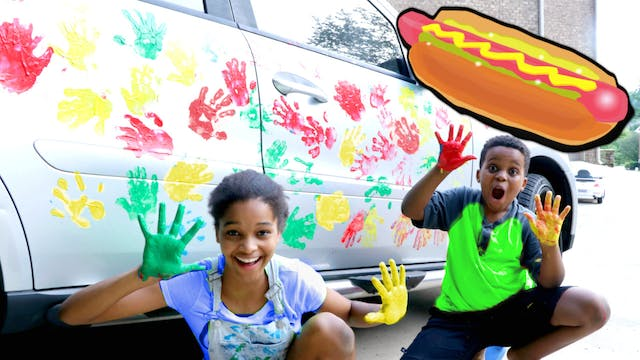 Hot Dog Handprints On Car!