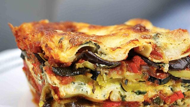 Rainbow veggie lasagne