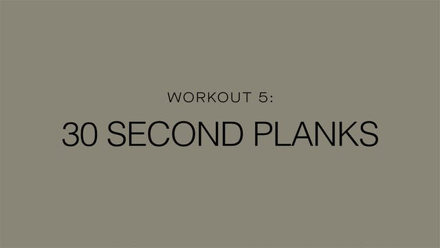 Workout 5: 30 Second Planks