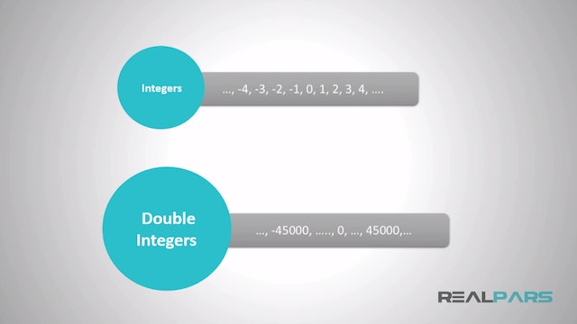 2. What are Integer and double integer data types in PLC programming?