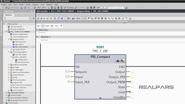 5. Building a PID Control Scheme in the PLC