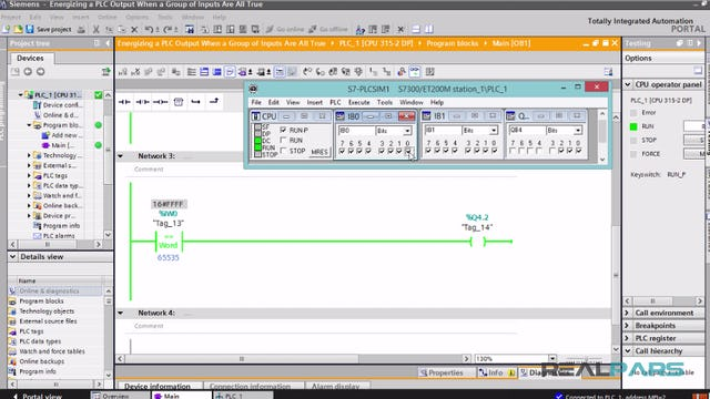 121. Energizing a PLC Output When a Group of Inputs Are All True