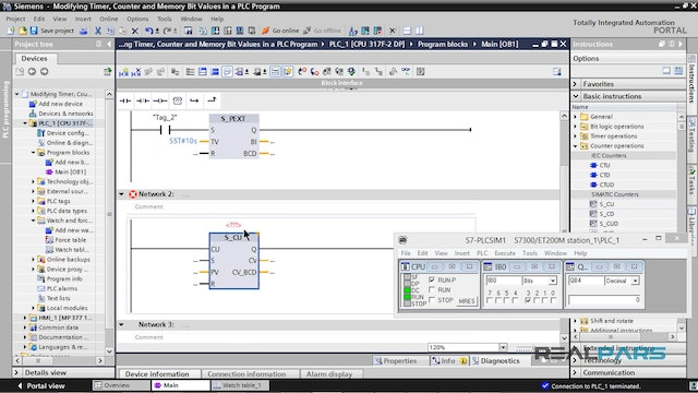 8. Modifying Timer, Counter and Memory Bit Values in a PLC Program