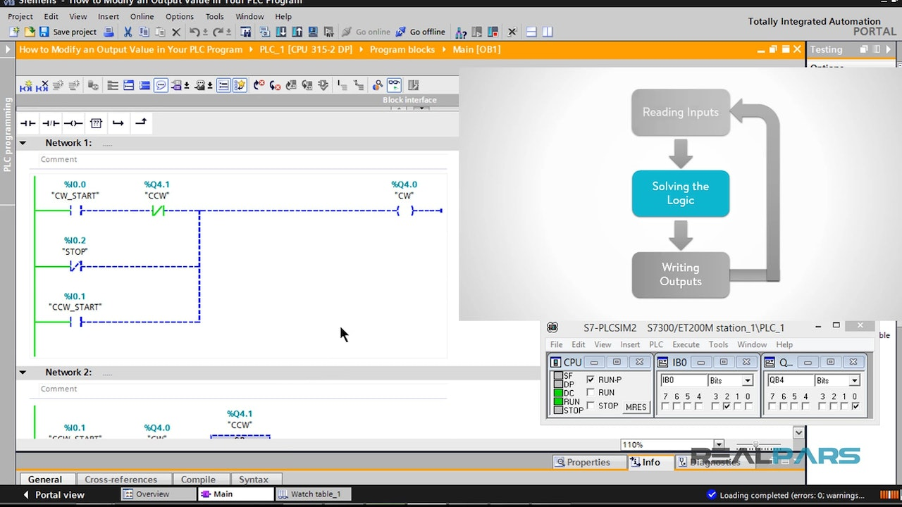 Watch and force table in tia portal realpars how to modify an output value in your plc program fandeluxe Choice Image