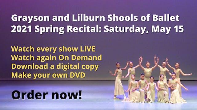 Spring Recital: Saturday, May 15, 2021