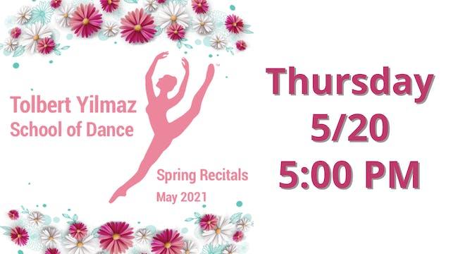 Thursday 5/20 5:00 PM