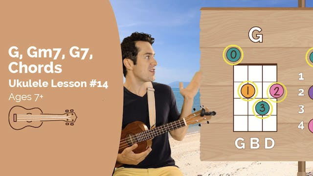 Ukulele Lesson #14 - G, GM7, G7 Chords