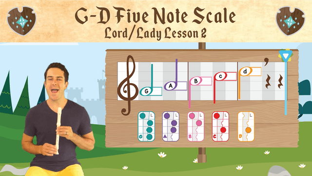 G to D 5 Note Scale (Lord & Lady -- Recorder Prodigies -- Lesson 2)