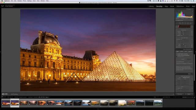 How retouch sunset of the Louvre in Paris