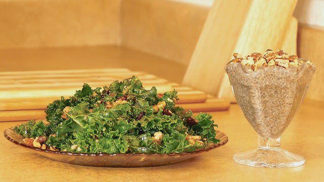 Chia Seed Pudding & Kale Salad