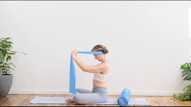 Roll + Restore for neck, shoulder + back  :  15 Min.
