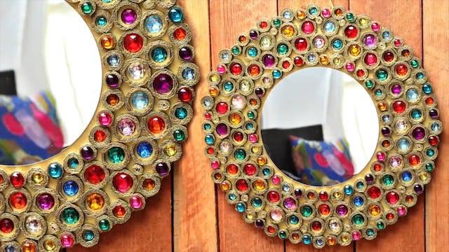 """Bejeweled Boho Cardboard Mirror"""