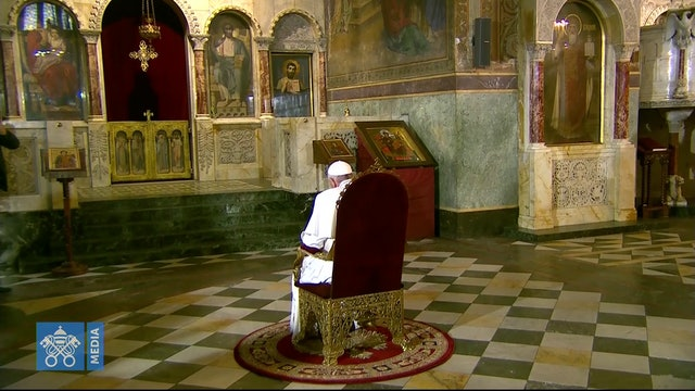 Pope prays before the Throne of Sts. Cyril and Methodius