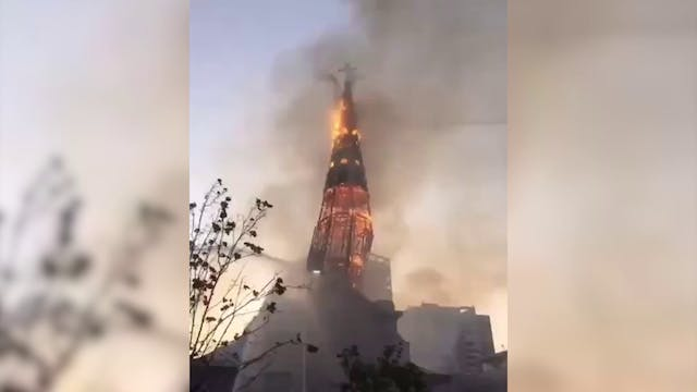 Churches burn to the ground amid prot...