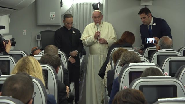 Pope during press conference on plane...