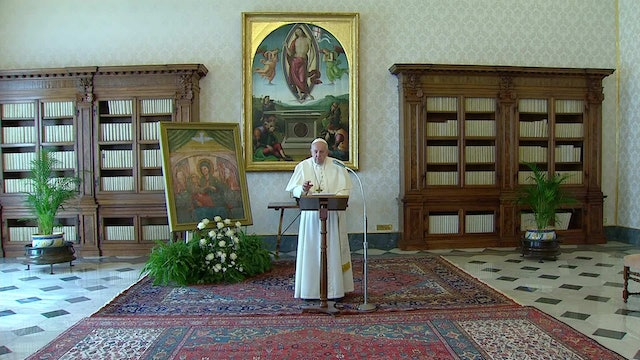 Pope prays Angelus from confines of library as measure against coronavirus