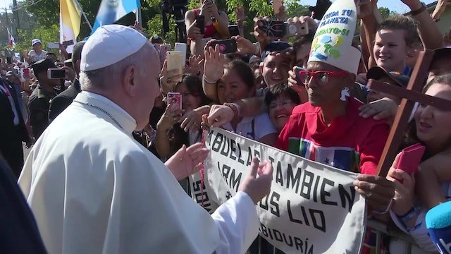 Pope Francis meets the grandmother he told Central American bishops about