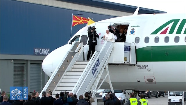 Pope Francis returns to Rome from North Macedonia