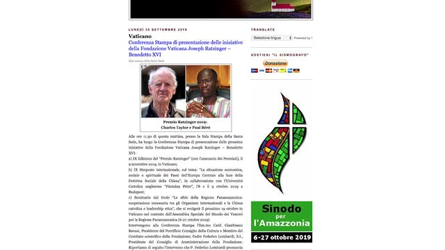 Today, pope awards Ratzinger Prize to...