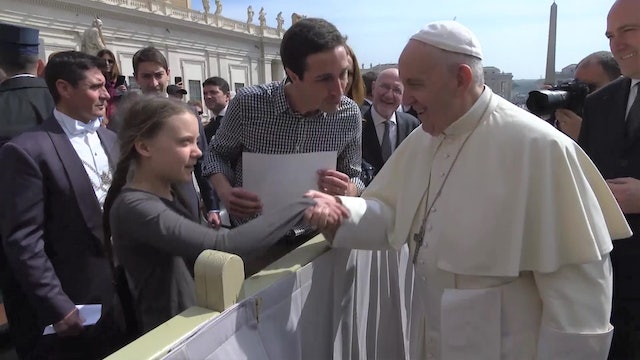 Pope Francis meets Greta Thunberg, a 16-year-old fighting against climate change