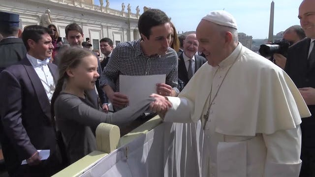 Pope Francis meets Greta Thunberg, a ...