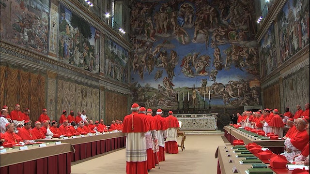 A conclave seen from inside the Vatican Museums
