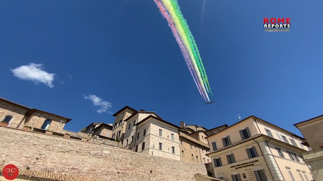 Military planes paint skies above Assisi with Italian flag