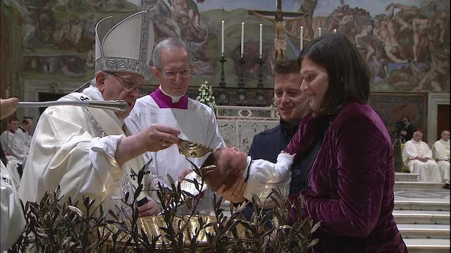 Pope during baptisms in Sistine Chape...
