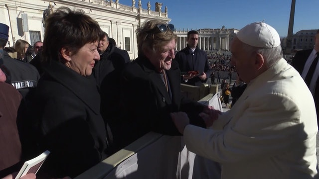 Pope Francis greets actor and director Robert Redford