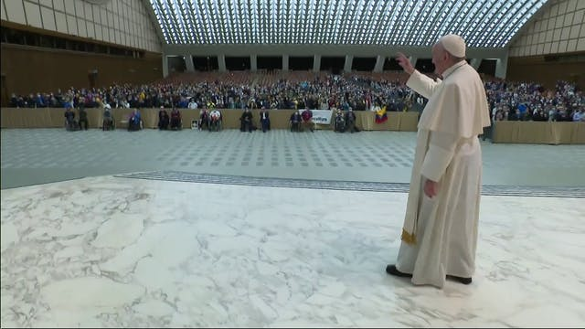 Pope avoids greeting pilgrims after i...