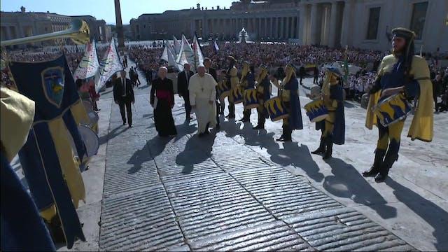 Pilgrims in medieval costumes organiz...