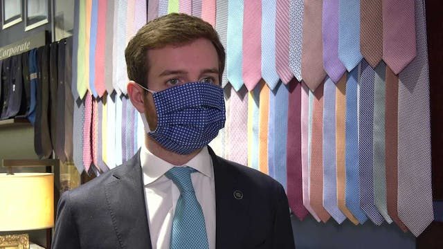 Luxury tie business produces masks to...