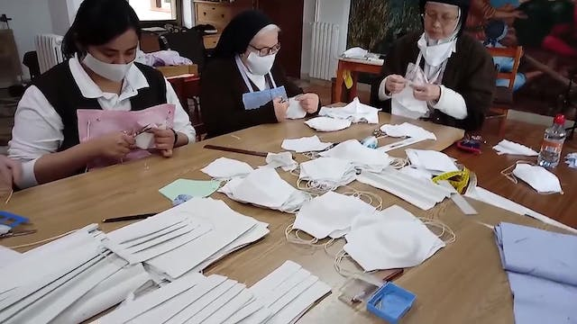 Cloistered nuns made masks and give a...