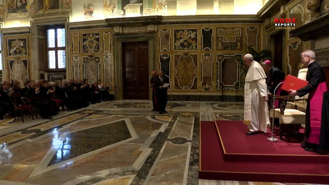 Pope Francis meets with excited group...