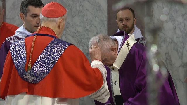 Pope Francis receives ashes during Ash Wednesday Mass