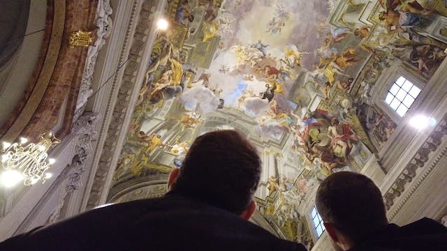 Frescoed ceiling in church of St. Ign...