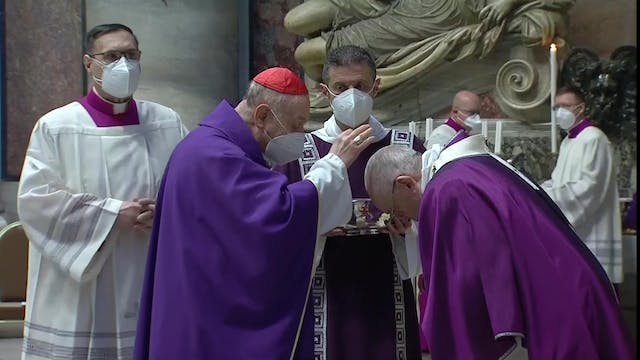 Pope Francis receives ashes during As...