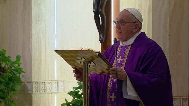 Pope celebrates Mass behind closed doors in Santa Marta because of coronavirus