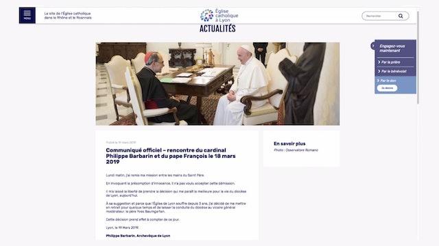 El Papa no acepta la renuncia del card. Barbarin, pero se retira temporalmente
