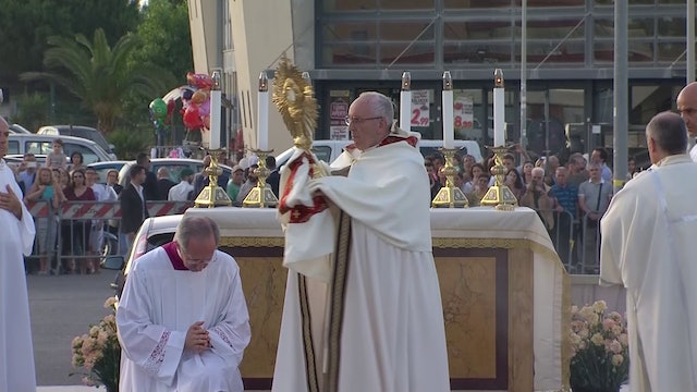Pope Francis celebrates Corpus Christi in a Roman neighborhood on Sunday