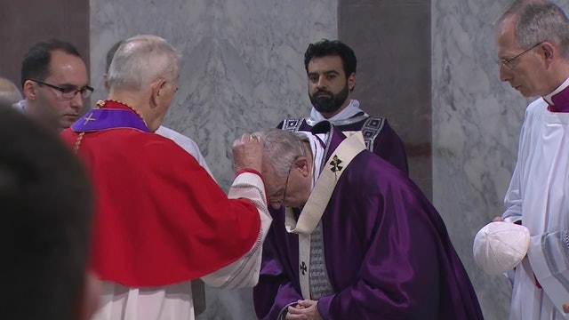 Pope Francis receives ashes during the ceremony for Ash Wednesday