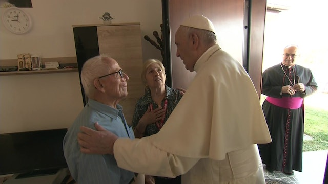 Pope Francis visits those affected by earthquakes in their temporary homes