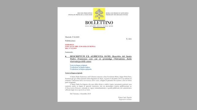 Diciembre 2019: Papa elimina secreto pontificio de los casos de abuso de menores